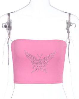 Glitter Diamond Off Shoulder Camis Cropped Top