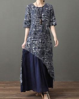 Half Sleeves Floral Print Jewel Neck Layered Cotton Long Maxi Dress