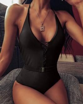 Lattice Closure Deep V-Neckline One Piece Swimsuit