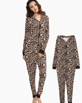 Leopard Hooded Jumpsuits Front Zipper Pajama Set