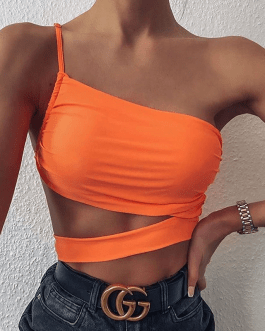 One Shoulder Cropped Top Vest Casual Tees