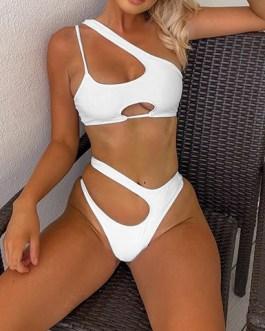 Peek-a-Boo Cutouts Strappy Geometric Two Piece Swimsuit