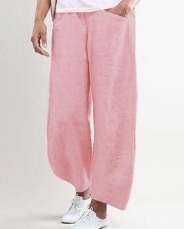 Pure Color Elastic Waist Wide Leg Side Pocket Pants