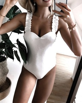 Ruffled Shoulder Strap One Piece Swimsuit