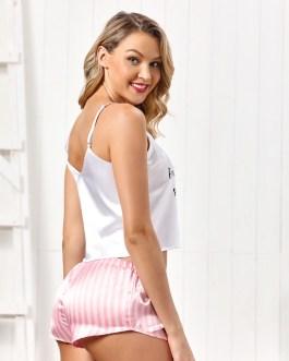 Satin Sleepwear Sexy Lace Striped Pajama Set