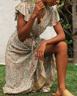 Short Sleeves Printed Chiffon Maxi Dresses