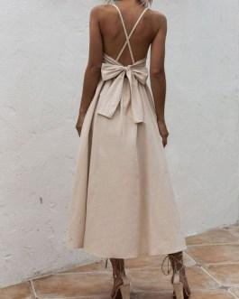 Sleeveless Cross Back Long Maxi Dresses