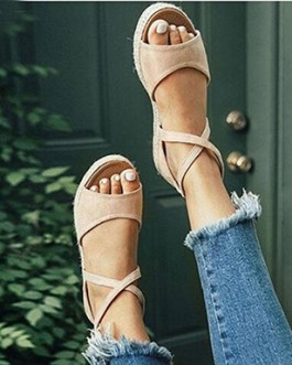 Slip-On Sandals with Narrow Ankle Straps