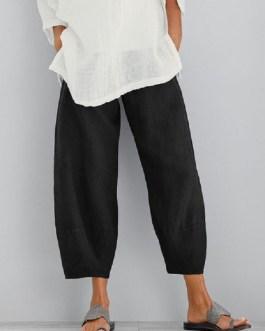 Solid Color Cotton Elastic Waist Trouser Pants