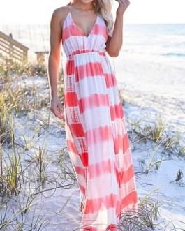 Stripe Maxi Dresses Sleeveless Long Beach Dress
