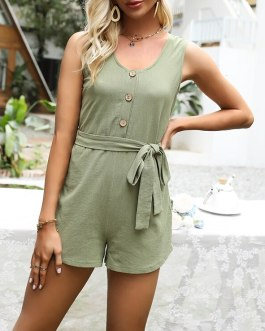 V-neck Solid Button Front Belted Rompers