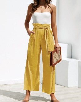 Wide Leg Casual Trousers Pants with Belt
