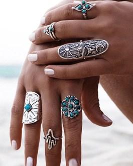 Boho Alloy Vintage Rings In 9 Piece Set