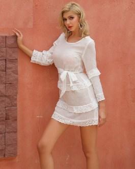 Casual O Neck Lace Up A-line Mini Dresses