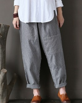 Casual Stripe Elastic Waist Loose Harem Pants