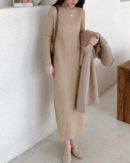 Casual Thick Warm Turtleneck Mid-Length Sweater Dress