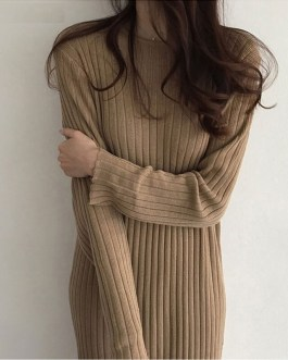 Elegant Casual O-Neck Long Loose Knitted Sweater Dress