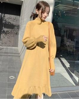 Elegant Half-turtleneck Loose Sweater Dress
