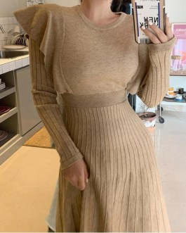Elegant O-neck Thicken Knit Sweater Dress