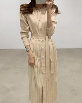 Elegant Single Breasted O-neck Lace Up Sweater Dress
