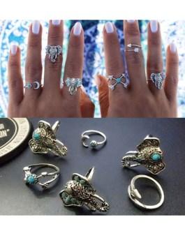 Elephant Print Embossed Chic Metal Rings