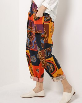 Ethnic Floral Print Elastic Waist Pockets Pants