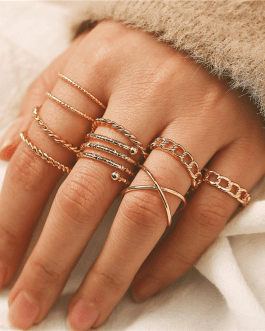 Fashion Geometric Multilayer Twisted Ring Set