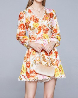 Floral Print V-Neck Lace Ruffles Casual Long Sleeves Flared Skater Dress