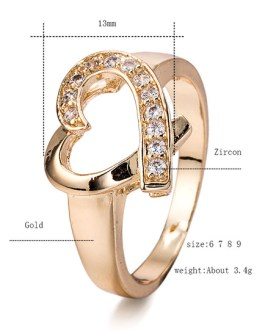Gold Engagement Crystal Heart Pattern Cut Out Round Rings