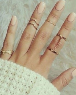 Gold Geometric Shape Chain Link Metal Rings