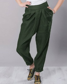 High Waist Casual Solid Trousers Pants