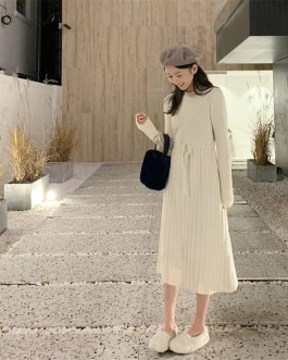 Knitted Pullover Elegant Lace Up A-line Sweater Dress