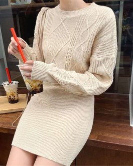 Long Sleeve Basic Knitted Pullovers Sweater Dress