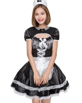 Maid Costume Lace Ruffle Bow Apron Headwear Dress Servant Girl