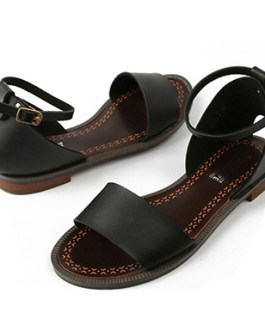 Metallic Leather Flat Sandals – Ankle and Toe Straps