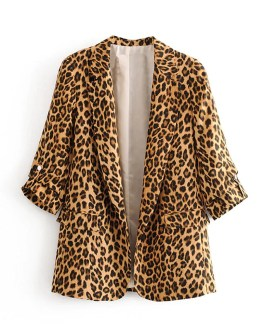 Retro Leopard Suit Pockets Notched Collar Three Quarter Sleeve Blazer