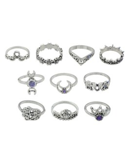 Rings Set In 10pcs Hollow Out Valentine Gift