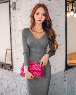 Sexy Knitted Cotton Skinny V-Neck Slim Bodycon Sweater Dress