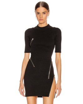 Sexy Short Sleeve Asymmetric Zipper Evening Party Dress