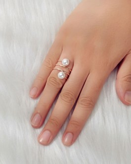 Spiral Rings Imitation Pearl Jewelry