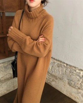 Thicken Oversized Turtleneck Knitted Long Sweater Dress