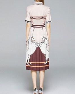 Animal Print Turndown Collar Long Dress