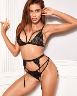 Bra And Panty Printed Cut Out Lace Stripes Two Piece Set Sexy Lingerie