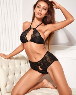 Bras Printed Cut Out Polyester Two Piece Set Sexy Lingerie