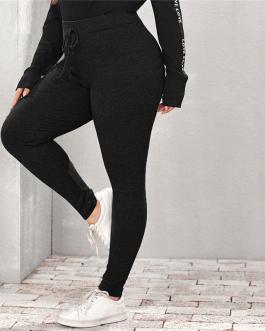 Casual Plus Slim Fit Skinny Solid Leggings