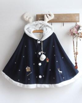 Christmas Deer Lolita Cape Coat Hooded Pom Poms Outerwear