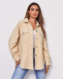 Collared Drop Shoulder Flap Pocket Front Plaid Coat