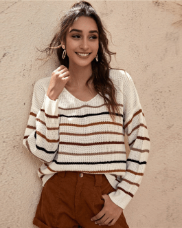 Drop Shoulder Long Sleeve Oversized Casual Sweaters