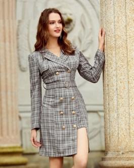 Elegant plaid double breasted belt dress