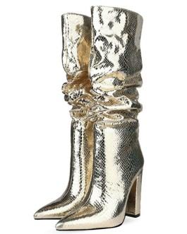 Knee-High Pointed Toe Chunky Heel High Boots